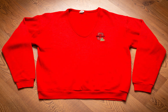 vintage 80s red sweater with embroidered ohio state buckeyes logo