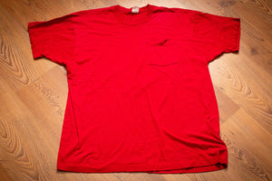 vintage 80s red fruit of the loom t-shirt with pocket