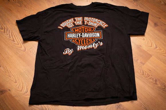 90s Harley-Davidson I Bought the Motorcycle T-Shirt, XL, Vintage Tee, Monty's Cycle Shop