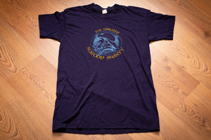 Vintage 1980s blue t-shirt with the Original Seafood Shanty sailor with pipe logo