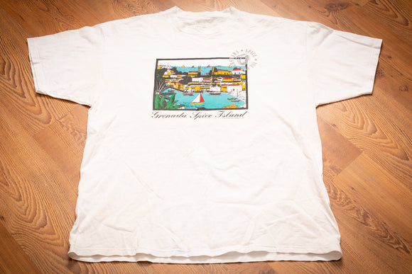 vintage 90s white t-shirt with nautical graphics and text for grenada spice island