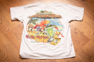 vintage 90s white t-shirt colorful cartoon parrot on beach graphic with margaritaville sign