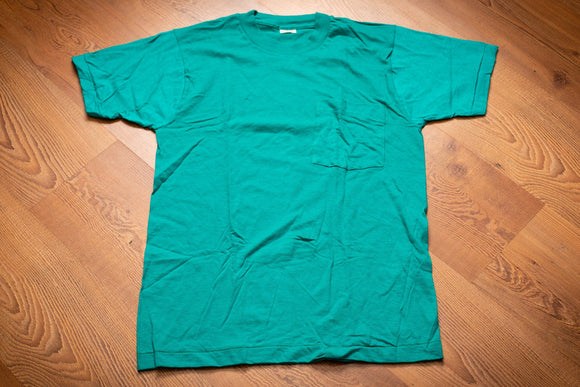 80s NOS Fruit of the Loom Selvedge Pocket T-Shirt, S, Teal Blue Vintage Tee, FOTL