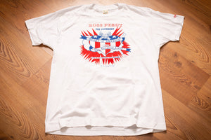 White t-shirt from the 1990s with red and blue graphics promoting Ross Perot for President