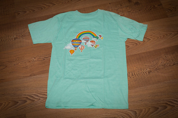 vintage 80s light teal t-shirt with colorful hot air balloons and rainbow graphic
