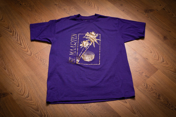 vintage 80s purple t-shirt with gold foil st maarten text and palm trees graphic