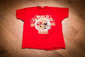 vintage 80s red t-shirt with text and helmet celebrating the san francisco 49ers 1988 nfl championship