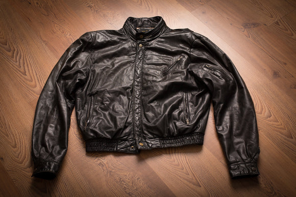 vintage 70s broken-in black leather jacket