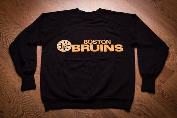 80s Boston Bruins Sweatshirt, M, Vintage Logo 7 Shirt, NHL Hockey