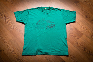 vintage 80s teal t-shirt from New England's Deaconess hospital with high rise bicycle graphic