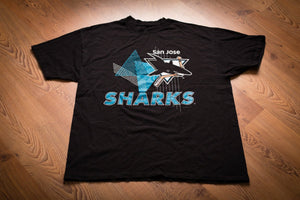 90s San Jose Sharks Logo T-Shirt, XL, Vintage Tee, Champion, Geometric, NHL