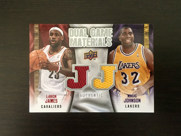 2009-10 Upper Deck LeBron James and Magic Johnson Jersey Card, DG-JJ, Lakers