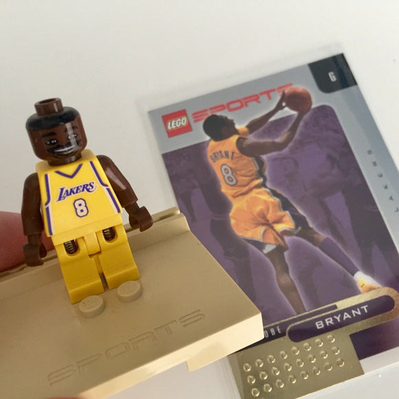 Kobe Bryant 8 Lego Minifigure, Stand, Gold Foil Card, LA Lakers Yellow Home Jersey