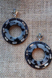 Black Circle Studded Earrings