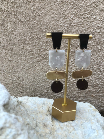 """Ruth"" geo block drop earrings"