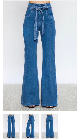 """Thriving"" high waisted denim flared jeans"