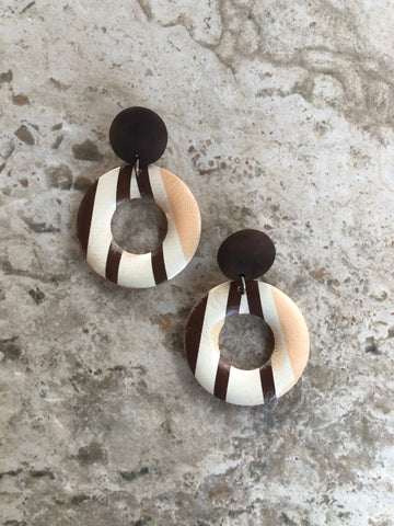 """Bliss "" wood stripe print earrings"