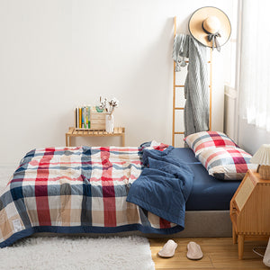 Lula® Air Conditioning Cool Summer Quilt Buffalo Check Plaid Geometric Classic Pattern Printed (King Size)