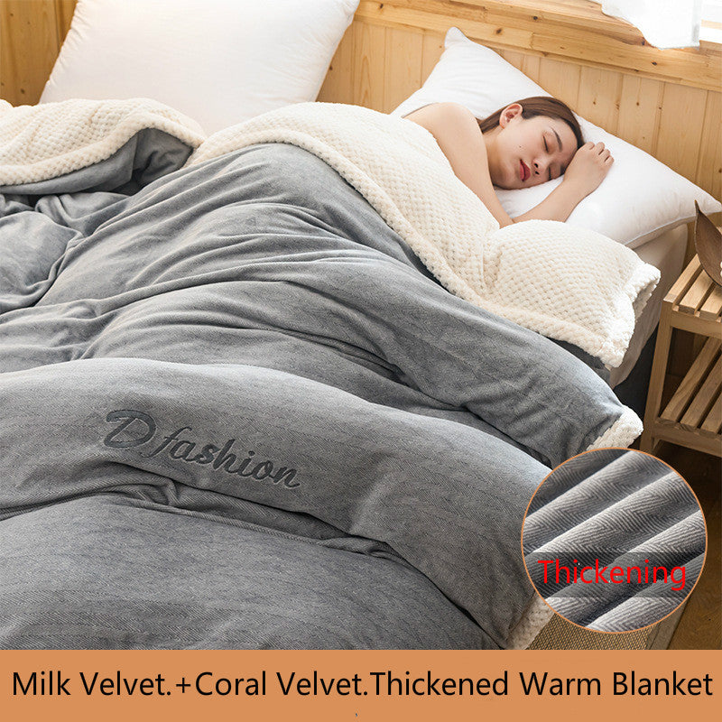 🔥Comfortable&Healthy Sleep🔥-Thickened Soft  Warm Autumn Winter Double-Sided Milk Velvet Cover Blanket