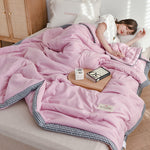 Load image into Gallery viewer, Lula® Solid Pink Cotton Reversible Air Conditioning Cool Breathable Soft Lightweight Summer Quilt