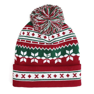 Winter Christmas Knitted Santa Claus Hat Soft Snowflake Beanie Hat Christmas Gift