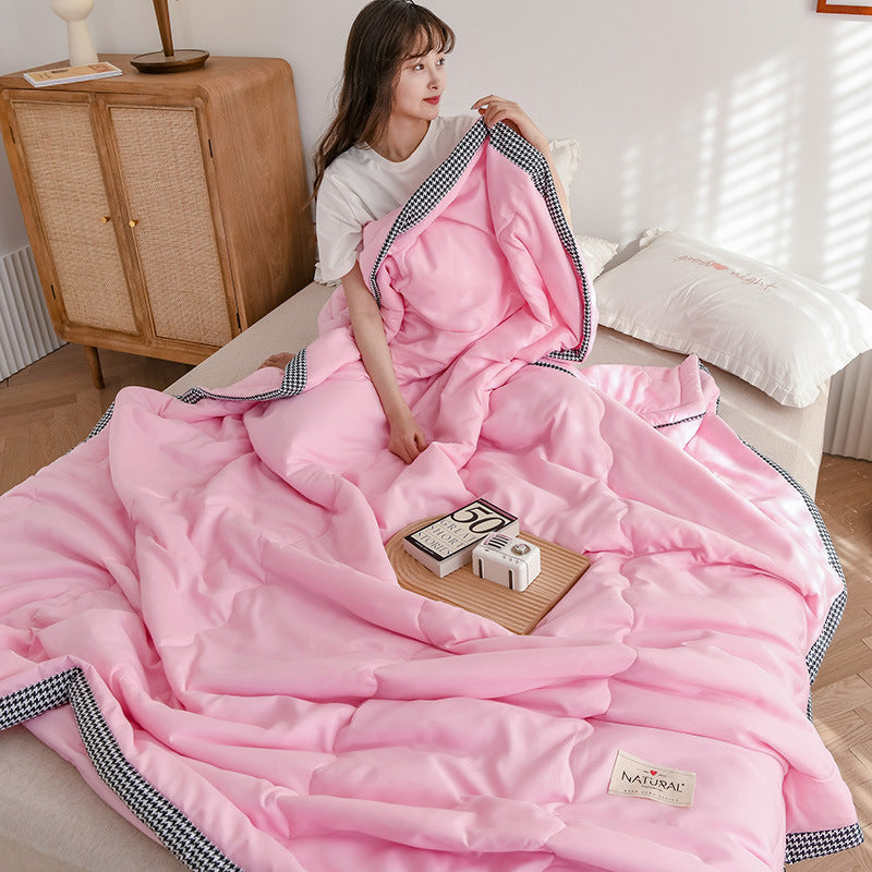 Lula® Solid Pink Cotton Reversible Air Conditioning Cool Breathable Soft Lightweight Summer Quilt