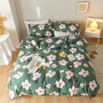 Load image into Gallery viewer, Lula® Green Flowers  Duvet Cover Set 100% Cotton Bedding set King Size