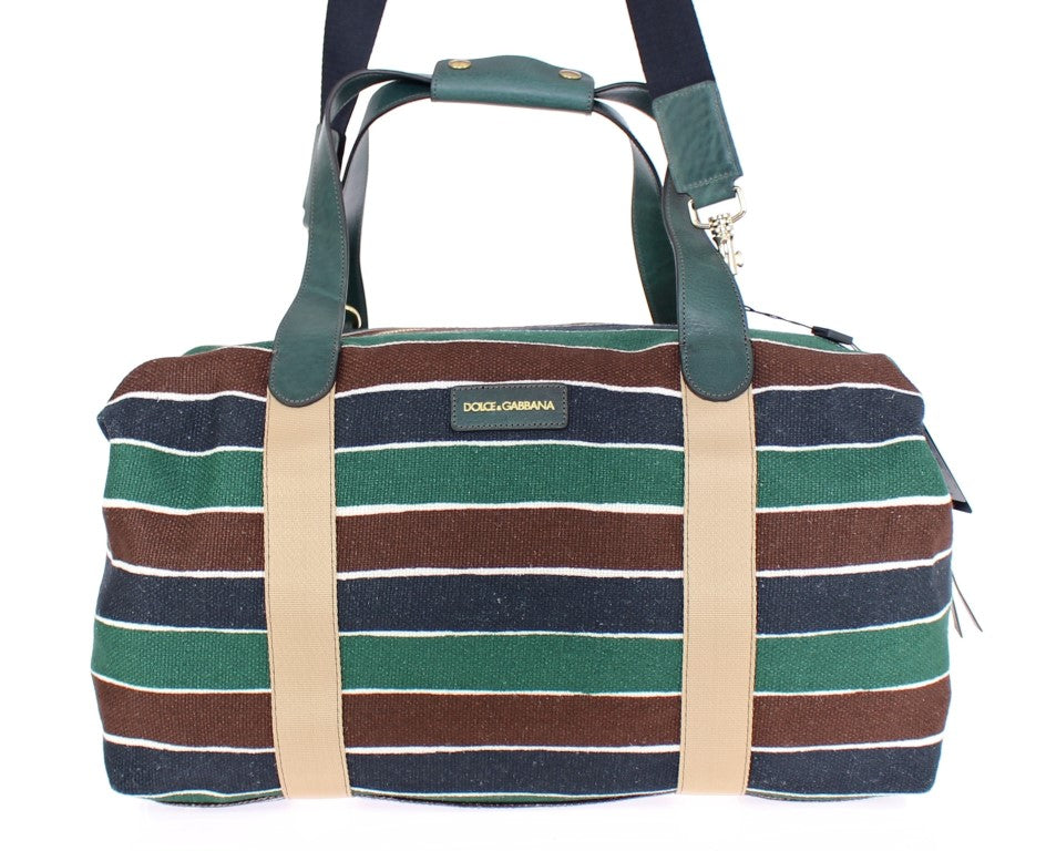 Multicolor striped boston bag