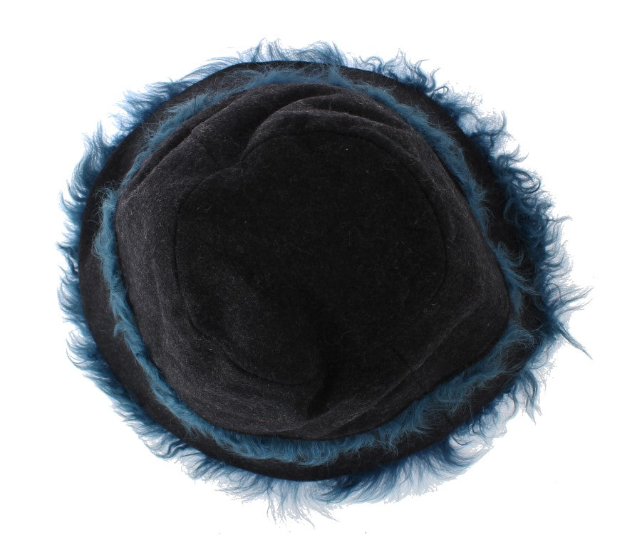 Gray Wool Blue Shearling Cloche Hat