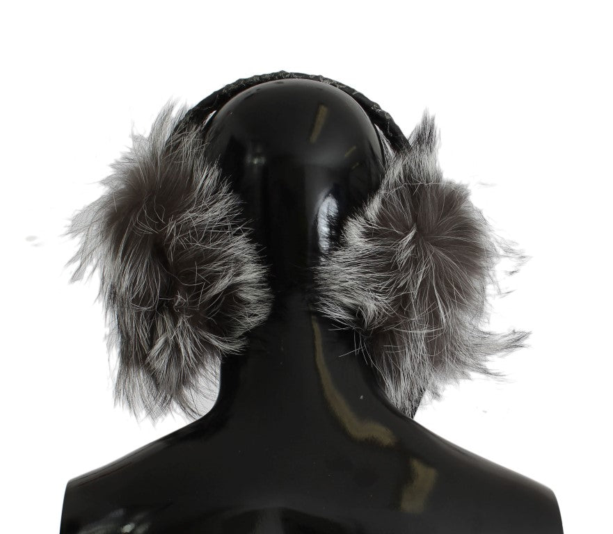 Gray Fox Fur Crystal Ear Muffs
