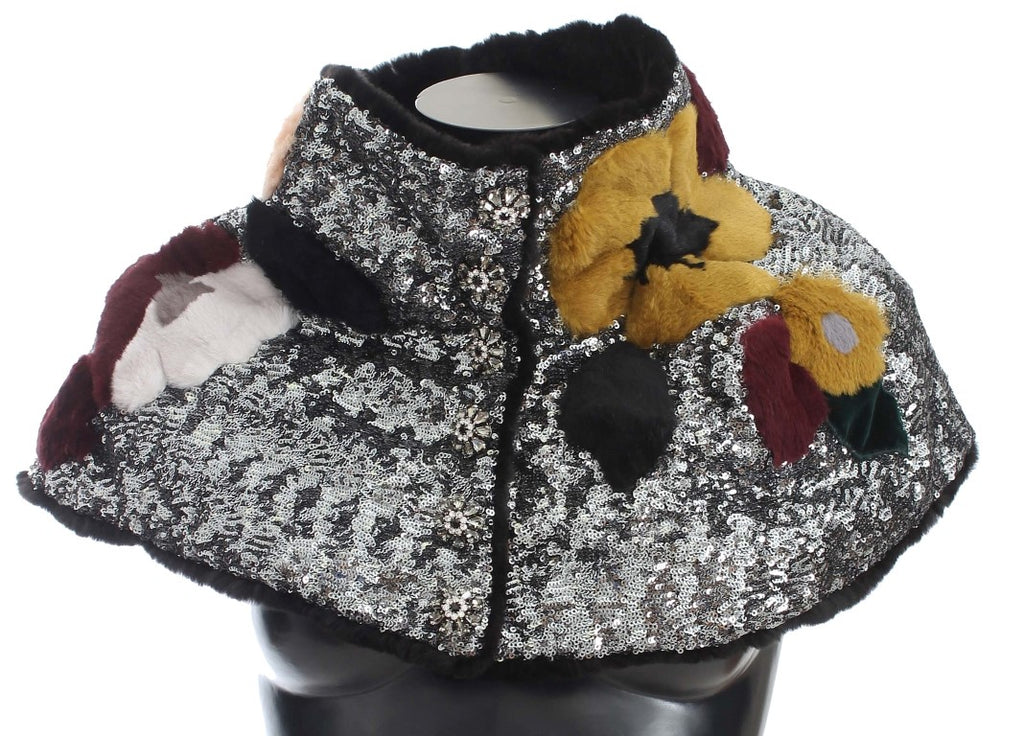 Silver Sequined Floral Weasel Fur Shoulder Scarf Wrap