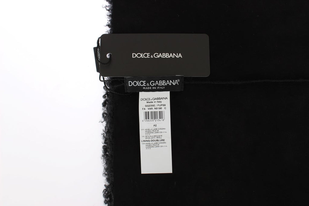Black Lamb Shearling Silk Scarf