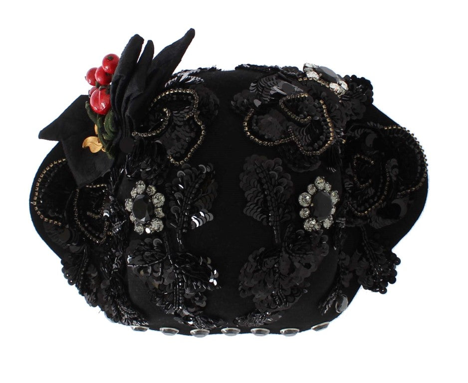 Black Crystal Gold Cherries Brooch Hat