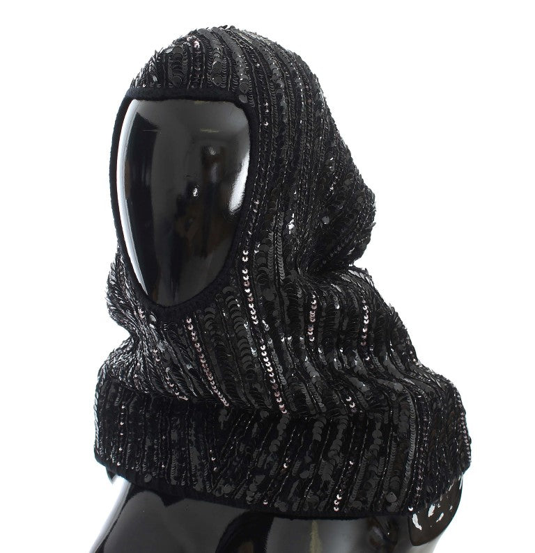 Black Knitted Sequin Hood Scarf Hat