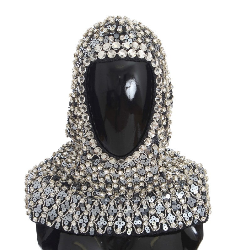 Gray Wool Crystal Sequined Hood Scarf Hat
