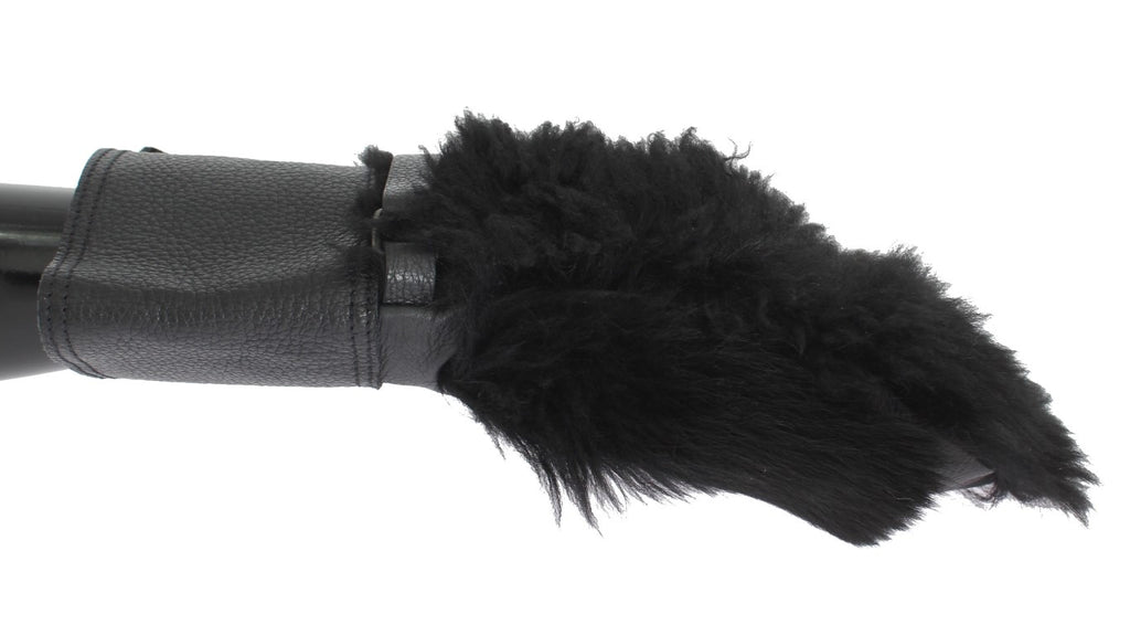 Black Leather Sheepskin Shearling Fur Gloves