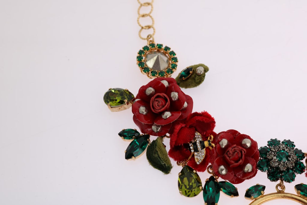 Gold Brass Roses Floral Crystal Necklace