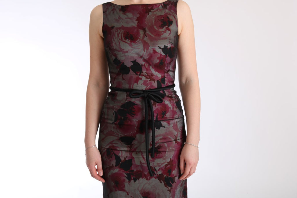 Roses Silk Stretch Sheath Long Dress