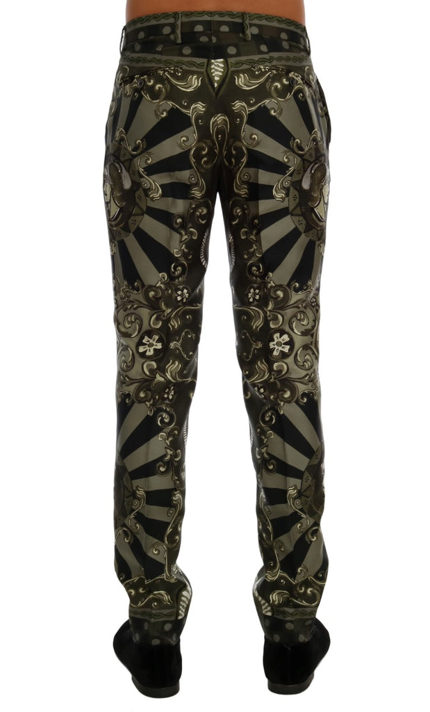 Green Carretto Print Silk Dress Pants