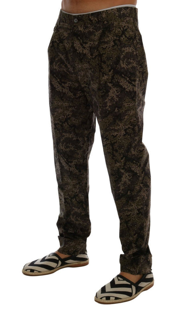 Black Green Cotton Military Pattern Pants