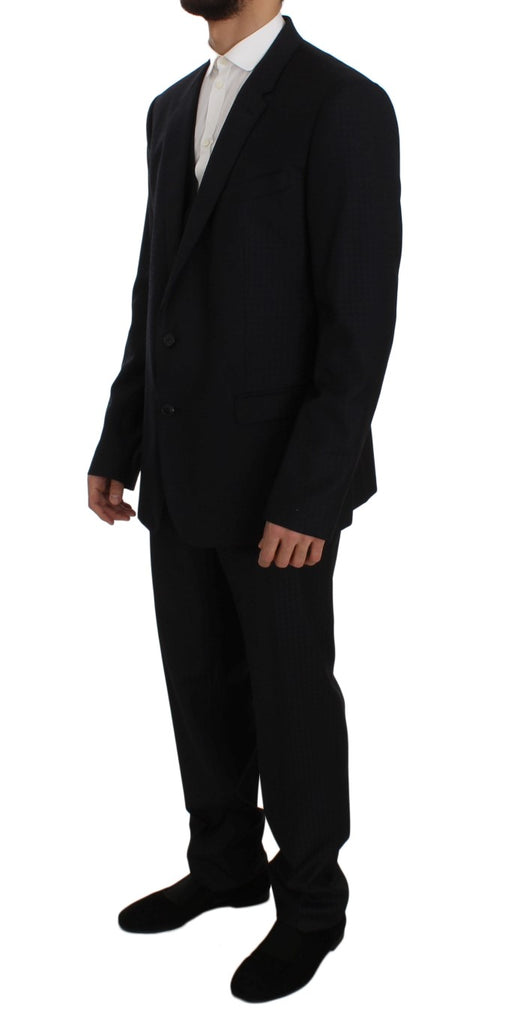 Blue Fantasy Wool Slim Fit 3 Piece Suit