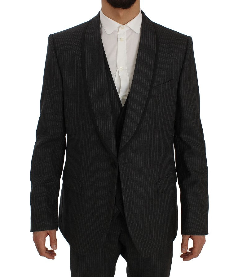 Gray Striped Wool Slim Fit 3 Piece Suit
