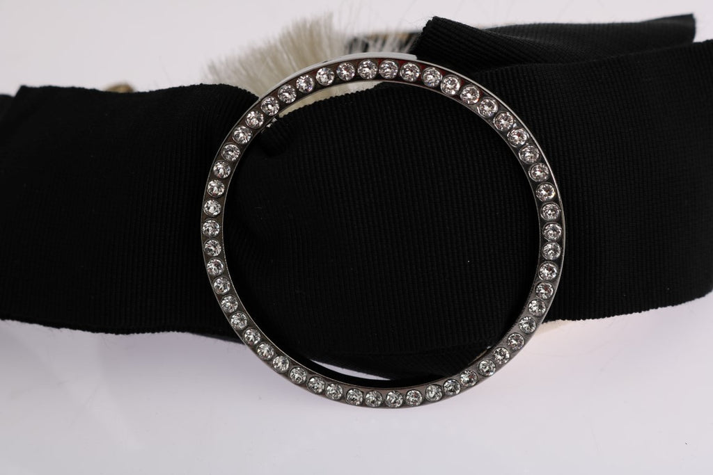 Black Crystal White Diadem Headband