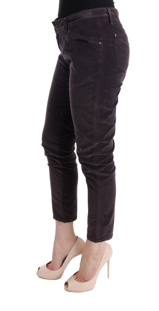 Brown Cotton Cropped Casual Pants