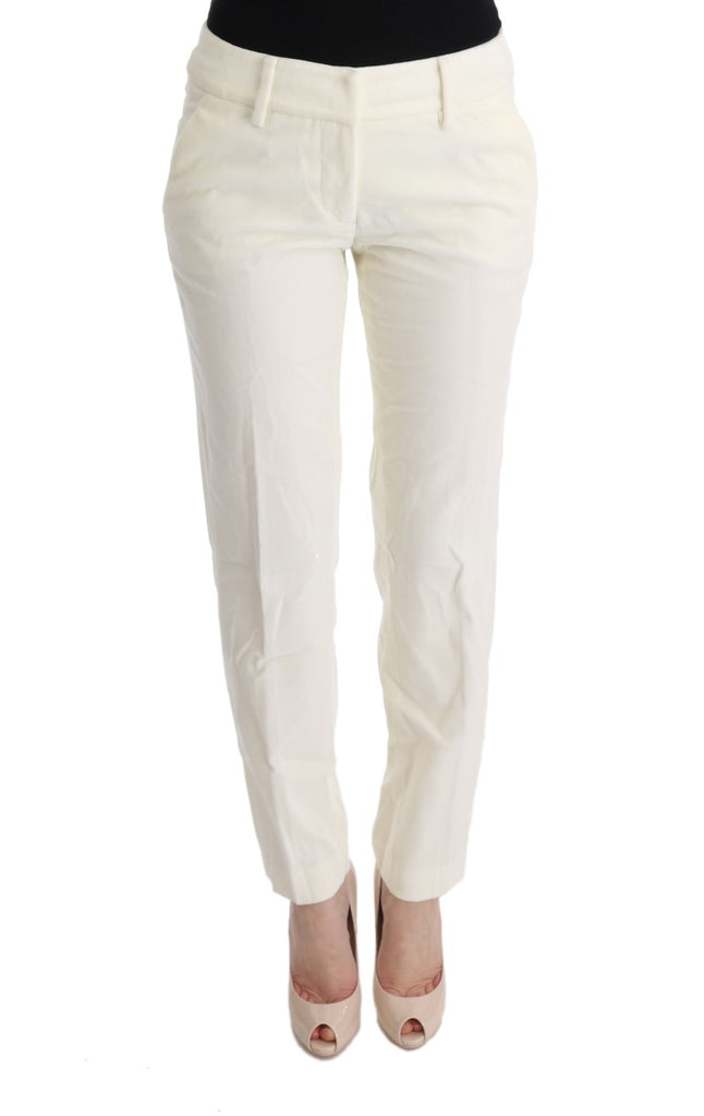 White Cotton Regular Fit Casual Pants