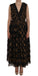 Black Silk Brown Fringes A-Line Dress