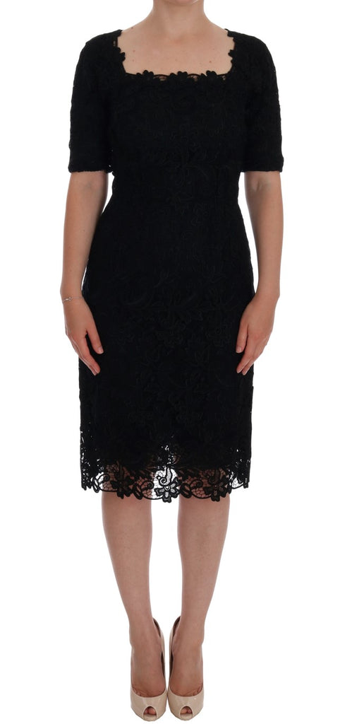 Black Floral Ricamo Sheath Dress