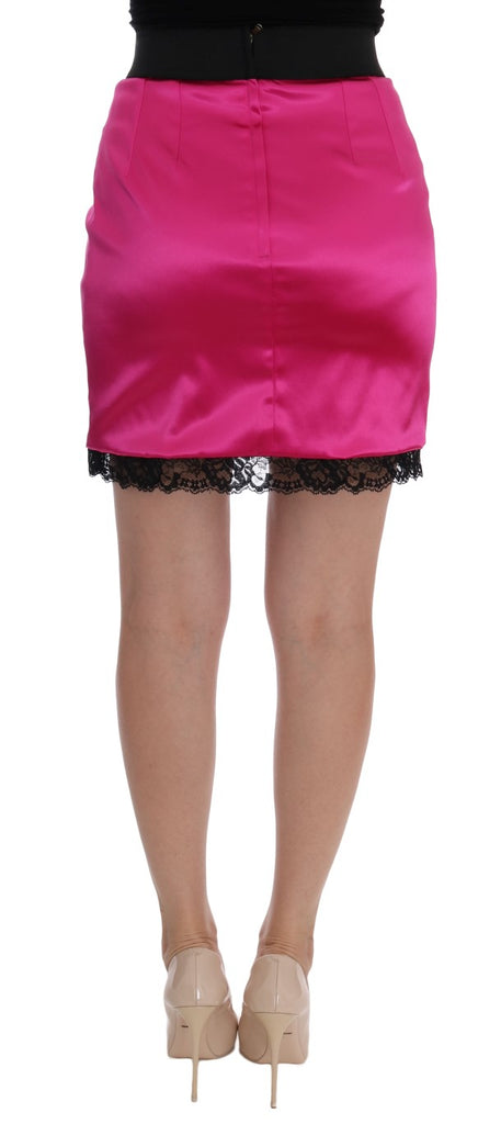 Pink Stretch Lace Lining Skirt