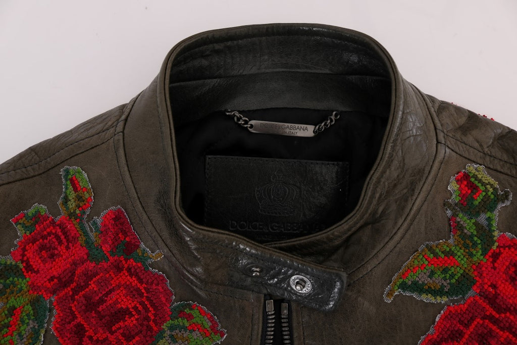 Green Leather Roses Embroidered Jacket