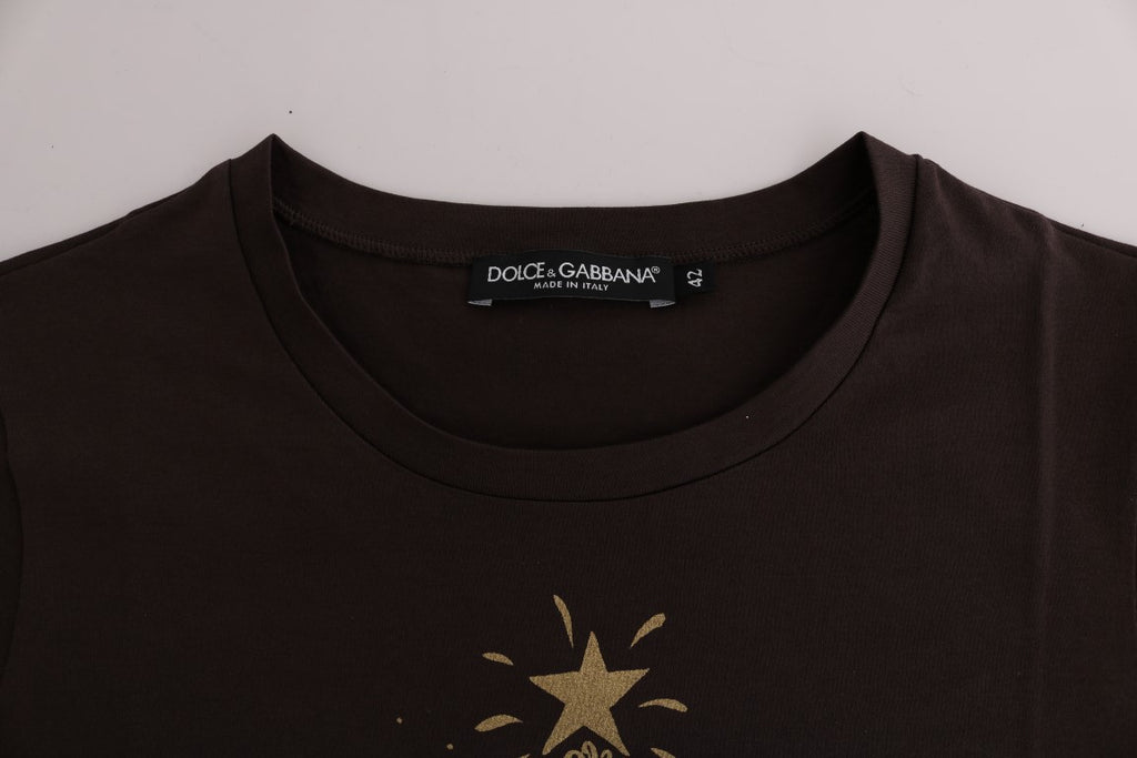 Brown Cotton 2017 Motive T-Shirt
